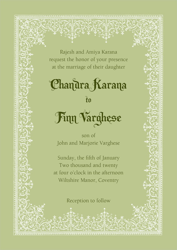 custom invitations - green tea - casablanca (set of 10)
