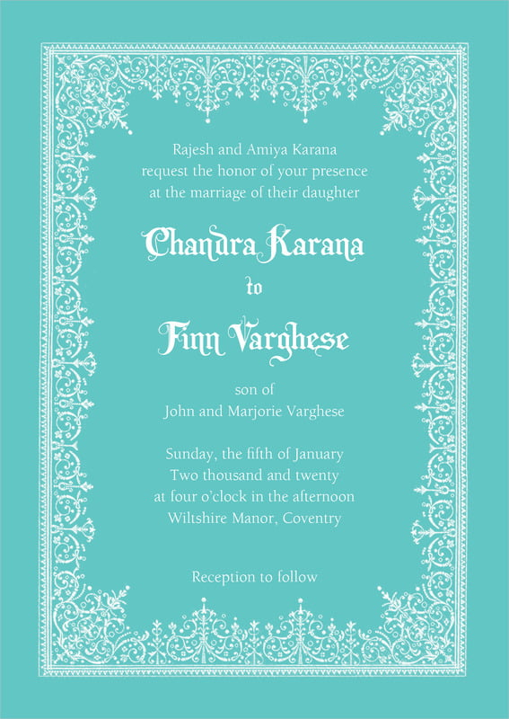 custom invitations - aruba - casablanca (set of 10)