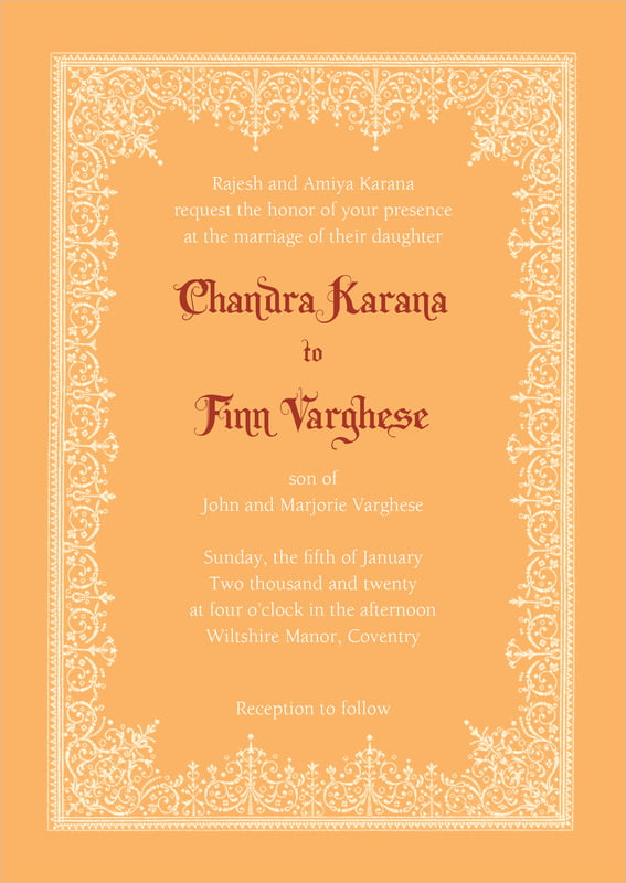 custom invitations - tangerine - casablanca (set of 10)