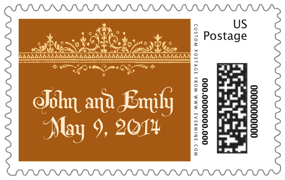 custom large postage stamps - golden brown - casablanca (set of 20)