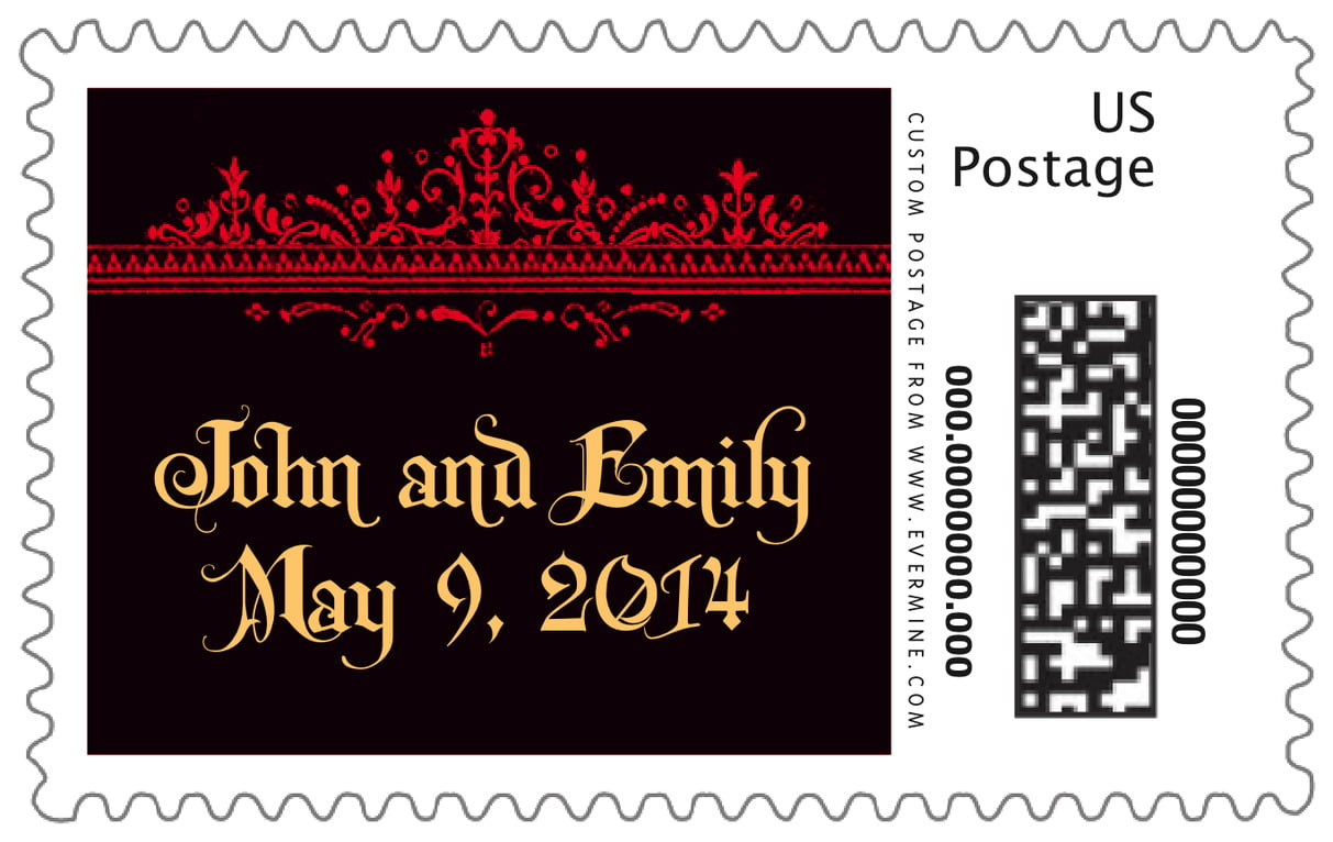 custom large postage stamps - black & red - casablanca (set of 20)