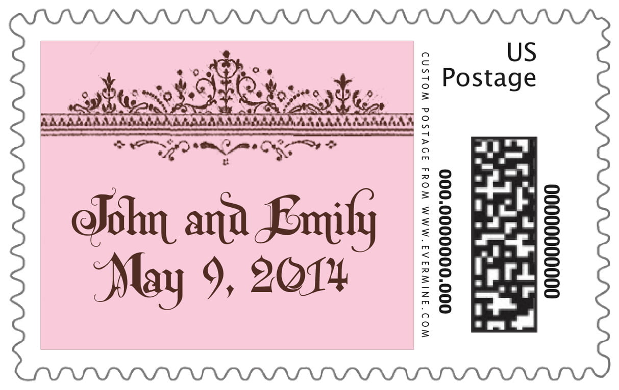 custom large postage stamps - cocoa & pink - casablanca (set of 20)