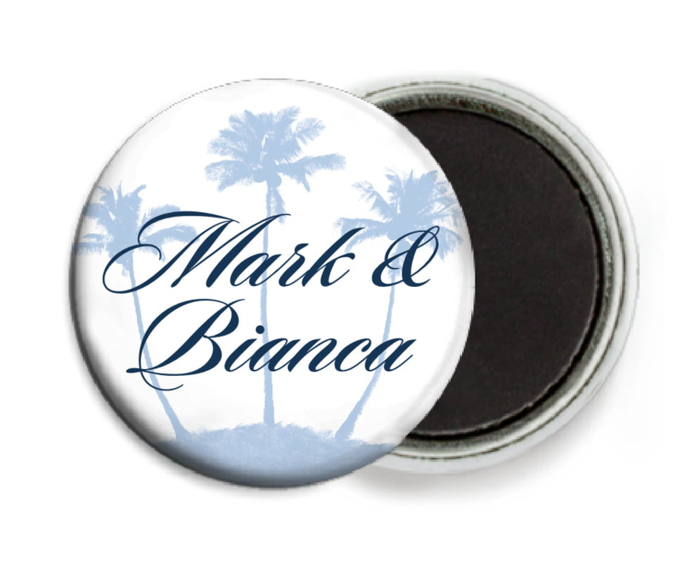 custom button magnets - pale blue - coco palms (set of 6)