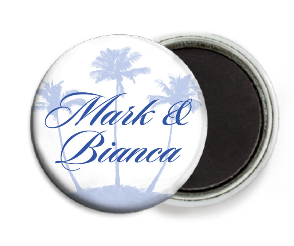 custom button magnets - periwinkle - coco palms (set of 6)