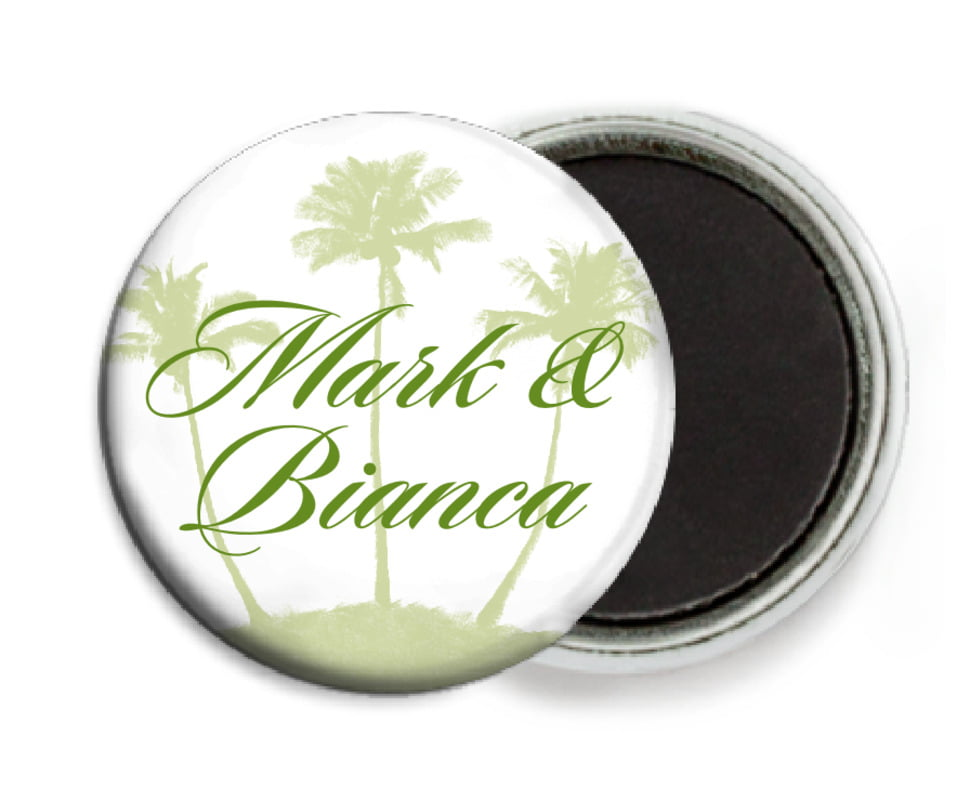 custom button magnets - green tea - coco palms (set of 6)