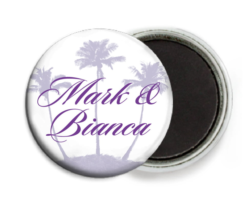 custom button magnets - lilac - coco palms (set of 6)