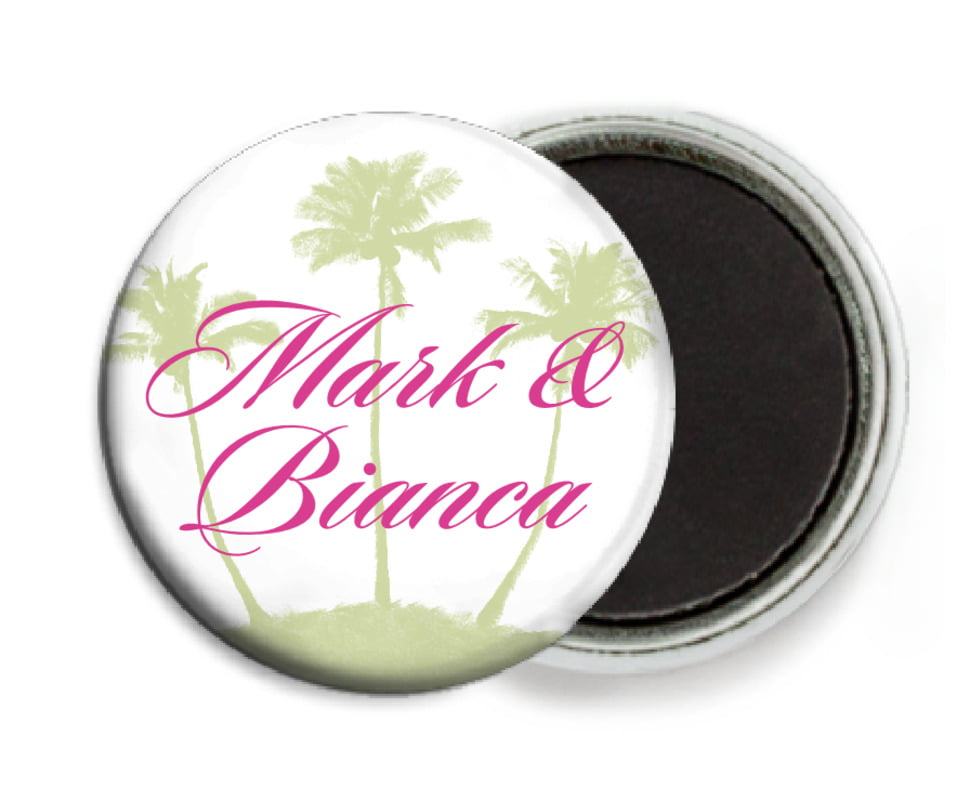 custom button magnets - bright pink - coco palms (set of 6)