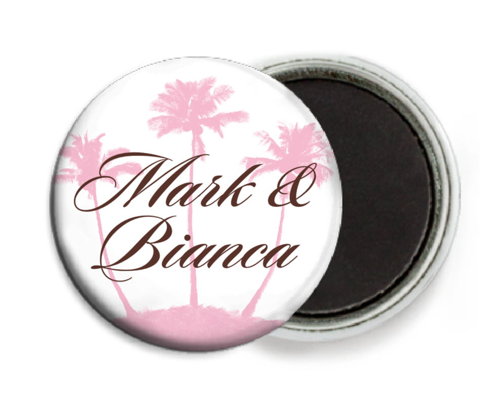 custom button magnets - cocoa & pink - coco palms (set of 6)