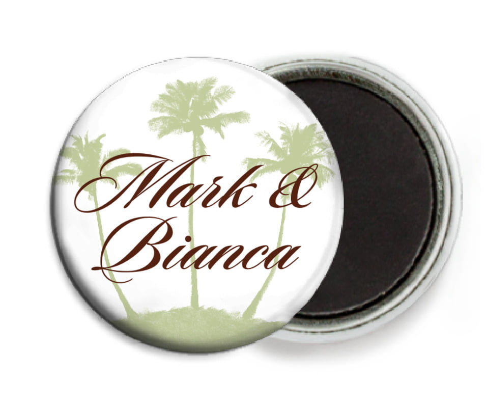 custom button magnets - chocolate mint - coco palms (set of 6)