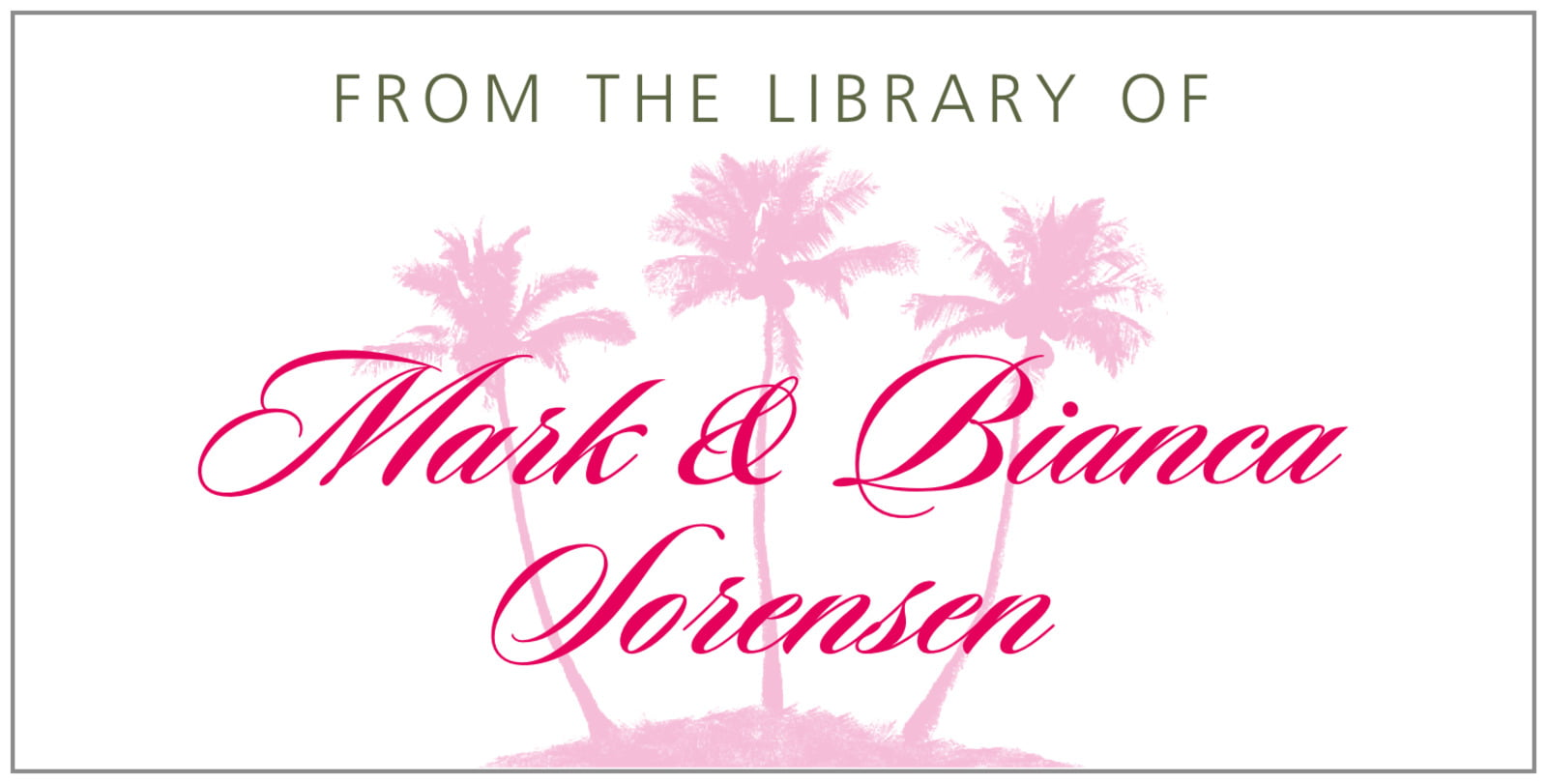 bookplates for everyone - pink - coco palms (set of 24)