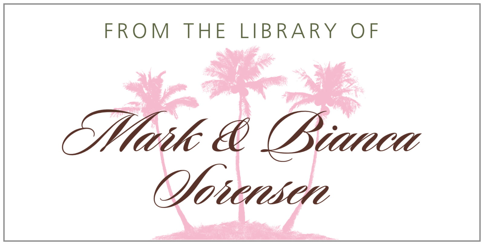 bookplates for everyone - cocoa & pink - coco palms (set of 24)