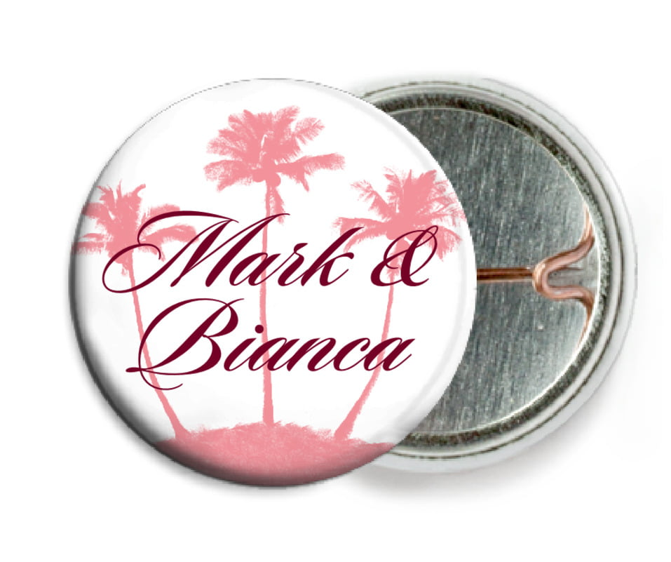 custom pin back buttons - grapefruit - coco palms (set of 6)