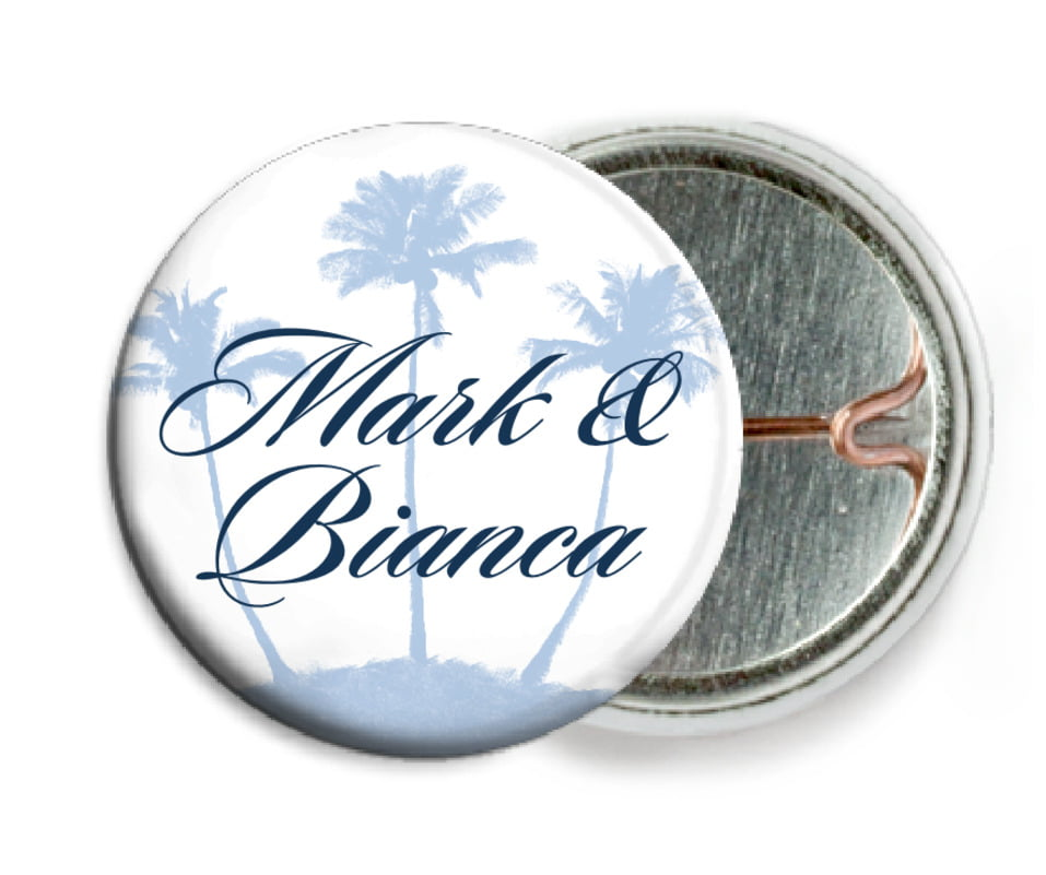 custom pin back buttons - pale blue - coco palms (set of 6)