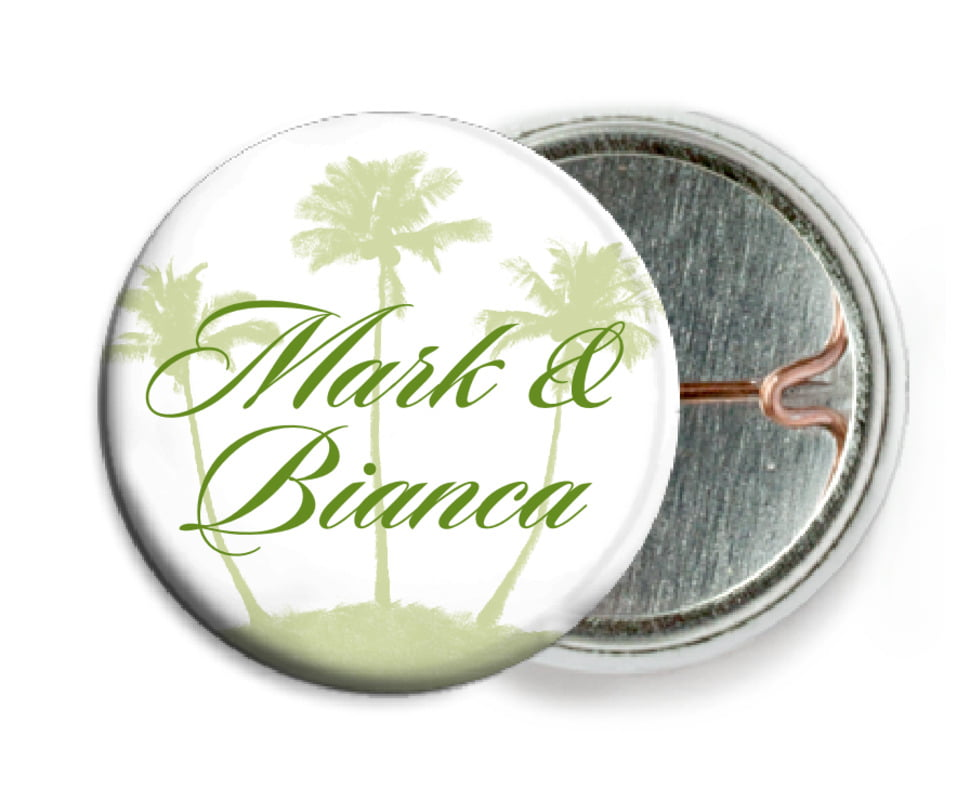 custom pin back buttons - green tea - coco palms (set of 6)