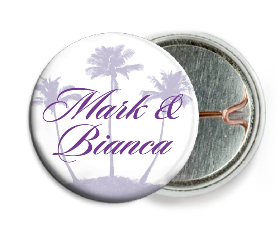 custom pin back buttons - lilac - coco palms (set of 6)