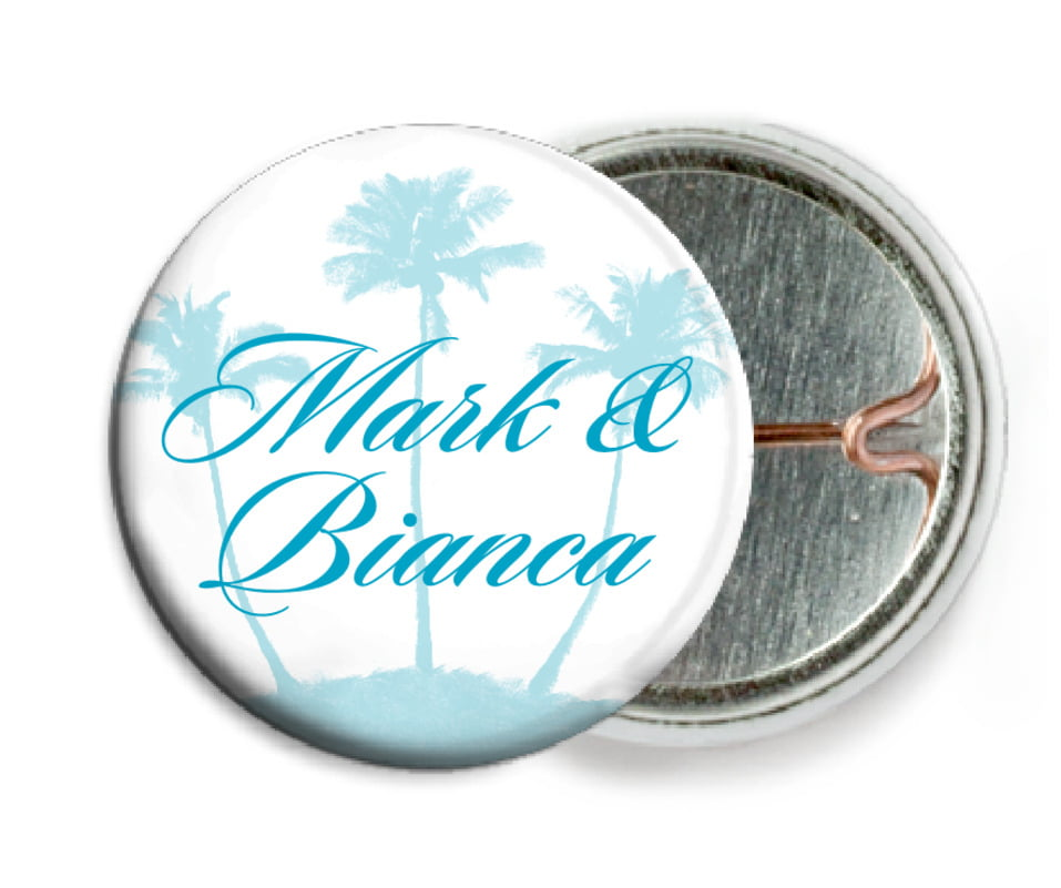 custom pin back buttons - bahama blue - coco palms (set of 6)