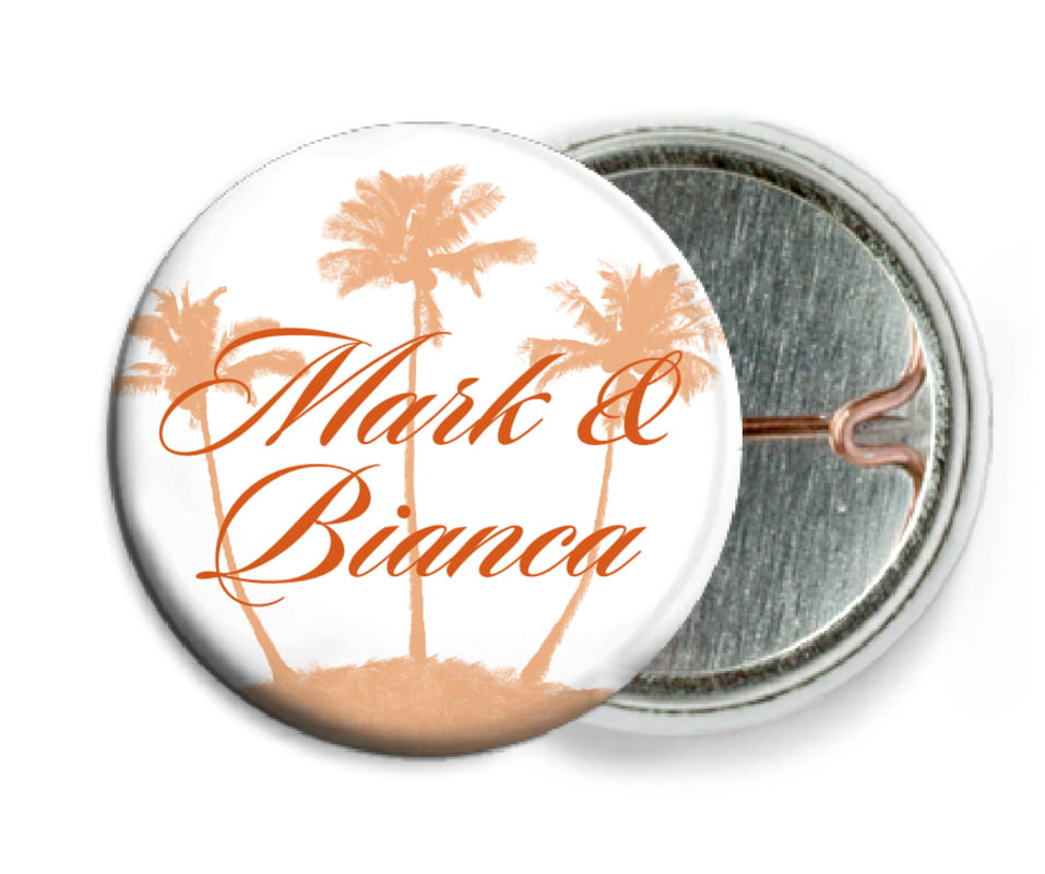 custom pin back buttons - spice - coco palms (set of 6)