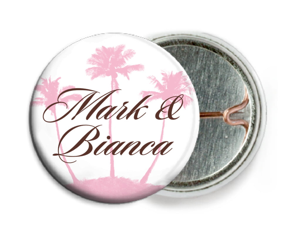 custom pin back buttons - cocoa & pink - coco palms (set of 6)