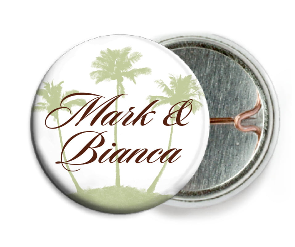 custom pin back buttons - chocolate mint - coco palms (set of 6)