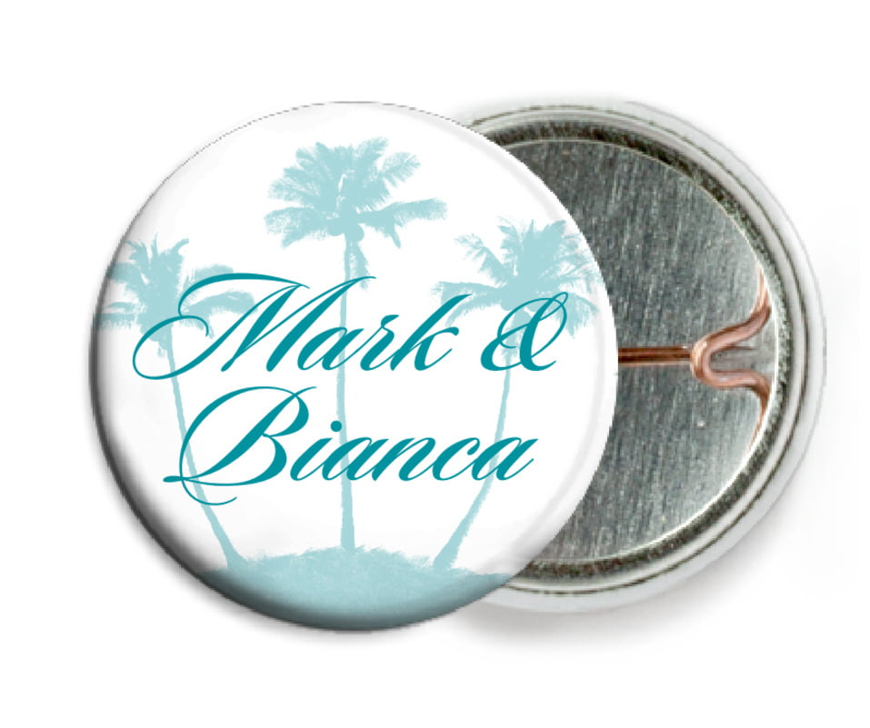 custom pin back buttons - sky - coco palms (set of 6)