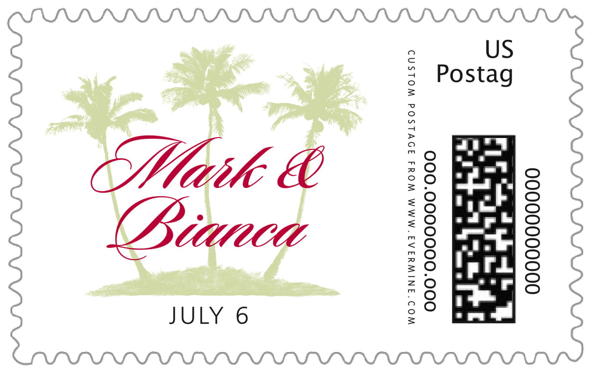 custom large postage stamps - deep red - coco palms (set of 20)