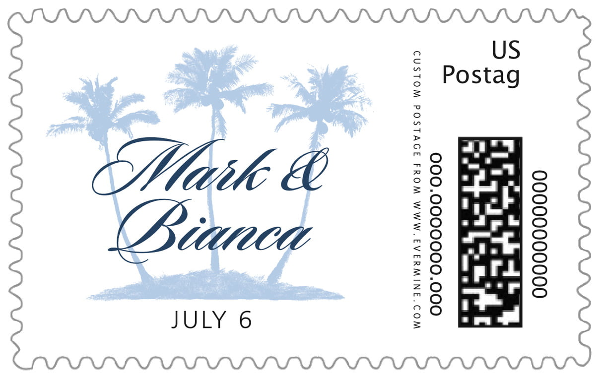 custom large postage stamps - pale blue - coco palms (set of 20)