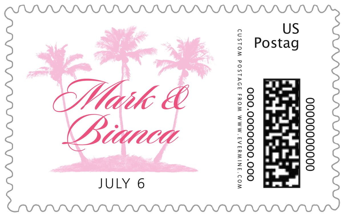 custom large postage stamps - pink - coco palms (set of 20)