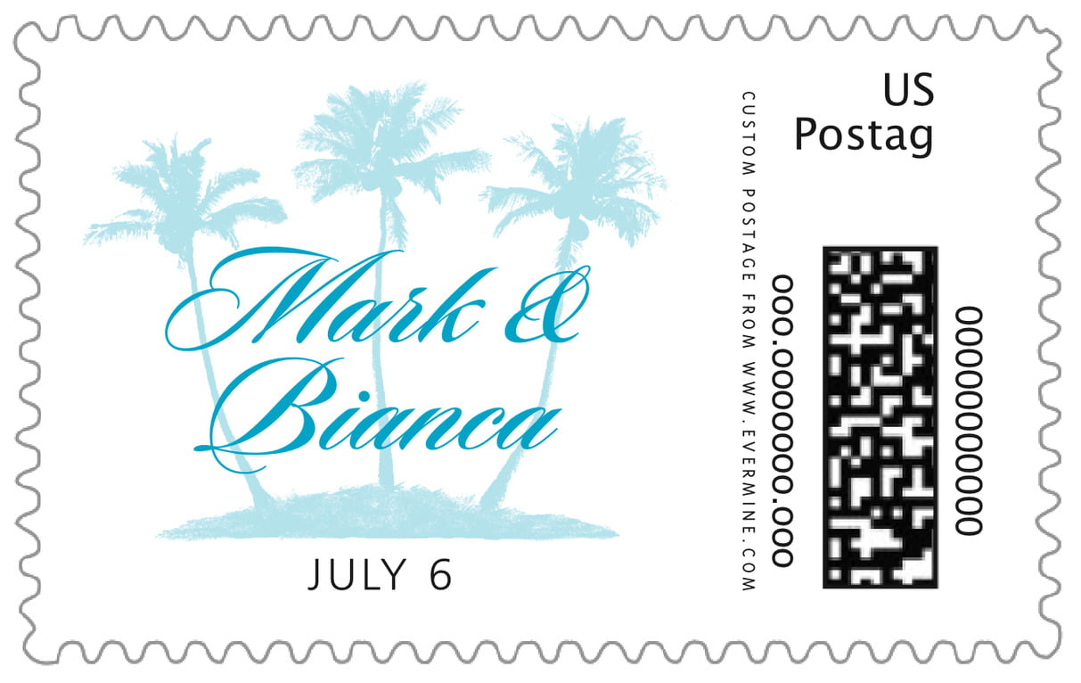 custom large postage stamps - bahama blue - coco palms (set of 20)