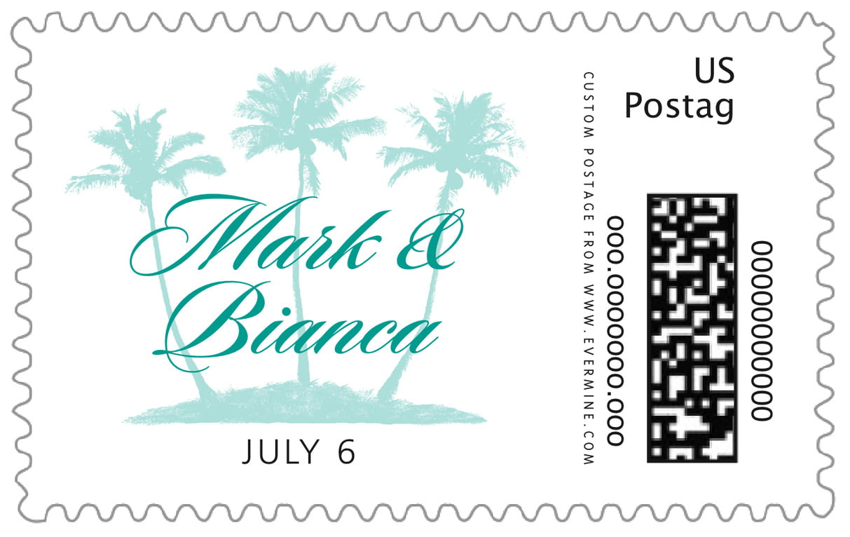 custom large postage stamps - aruba - coco palms (set of 20)