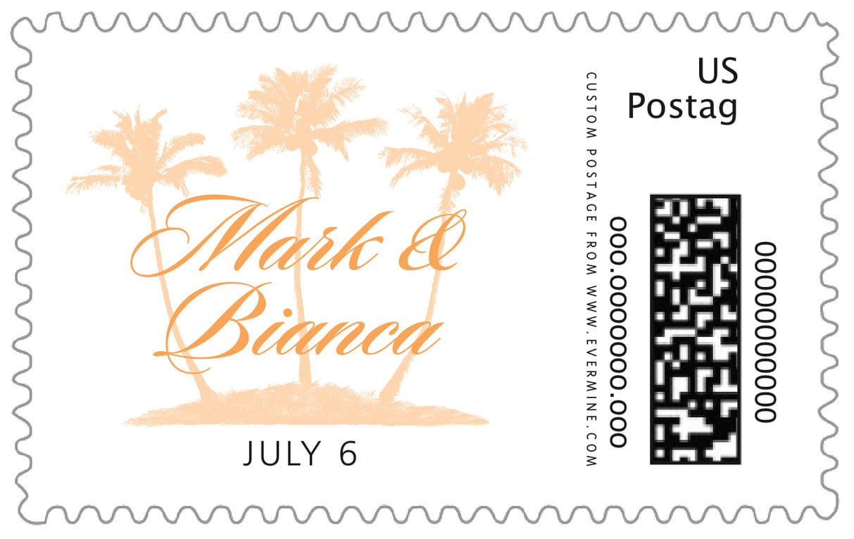 custom large postage stamps - tangerine - coco palms (set of 20)