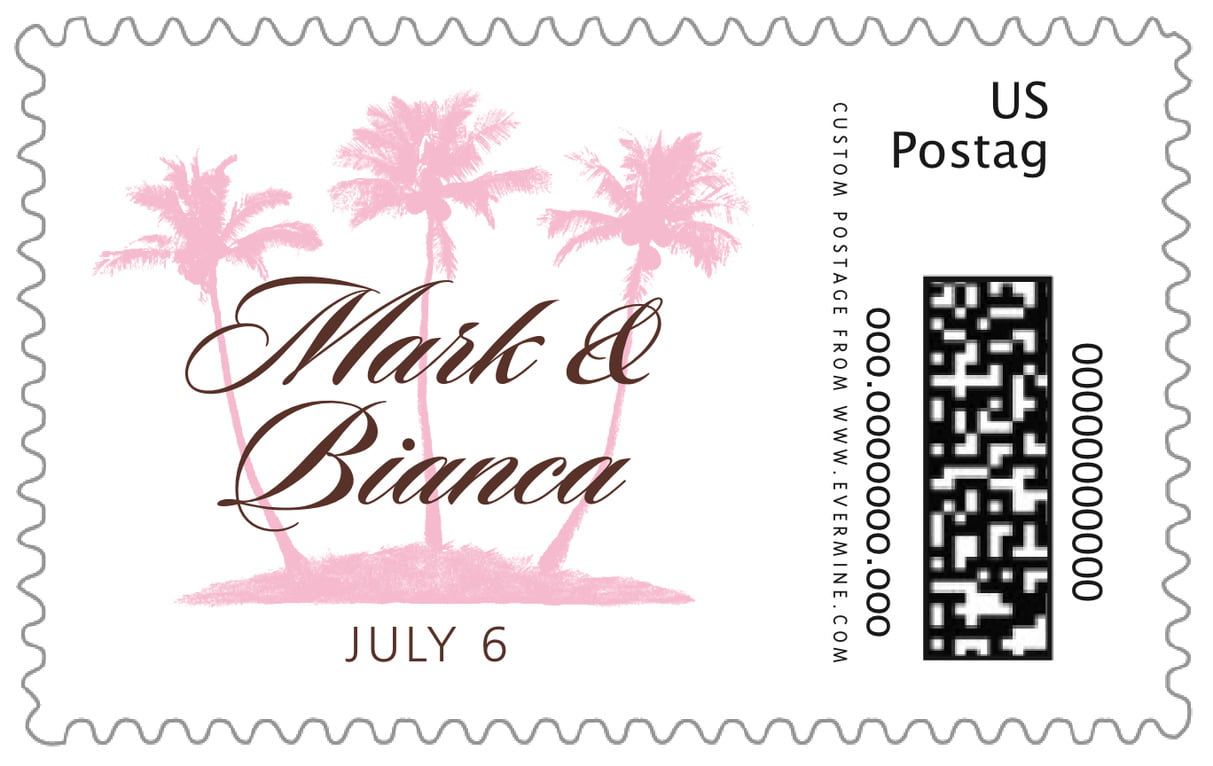 custom large postage stamps - cocoa & pink - coco palms (set of 20)