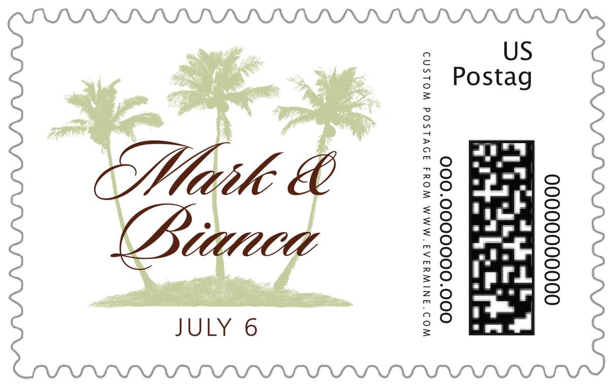 custom large postage stamps - chocolate mint - coco palms (set of 20)