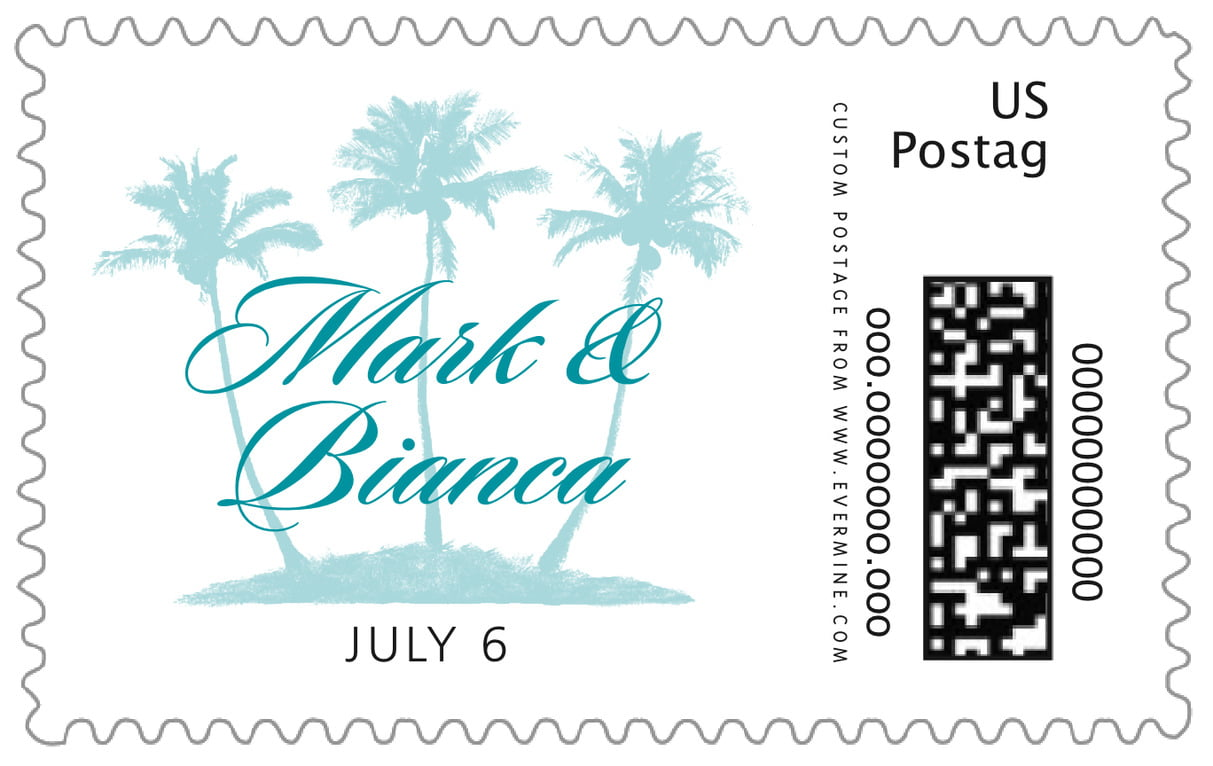 custom large postage stamps - sky - coco palms (set of 20)