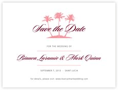Coco Palms save the date cards