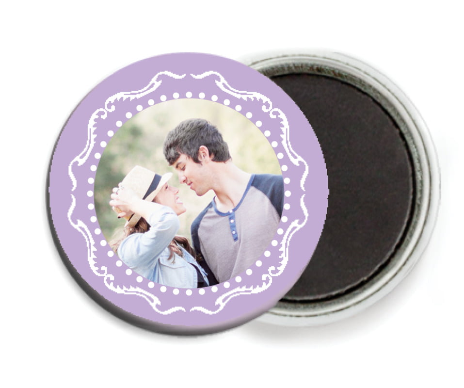 custom button magnets - lilac - cara (set of 6)