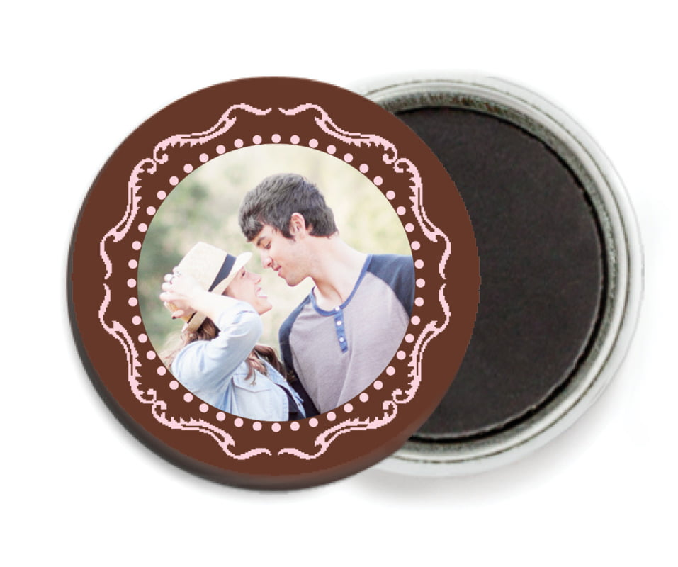 custom button magnets - cocoa & pink - cara (set of 6)