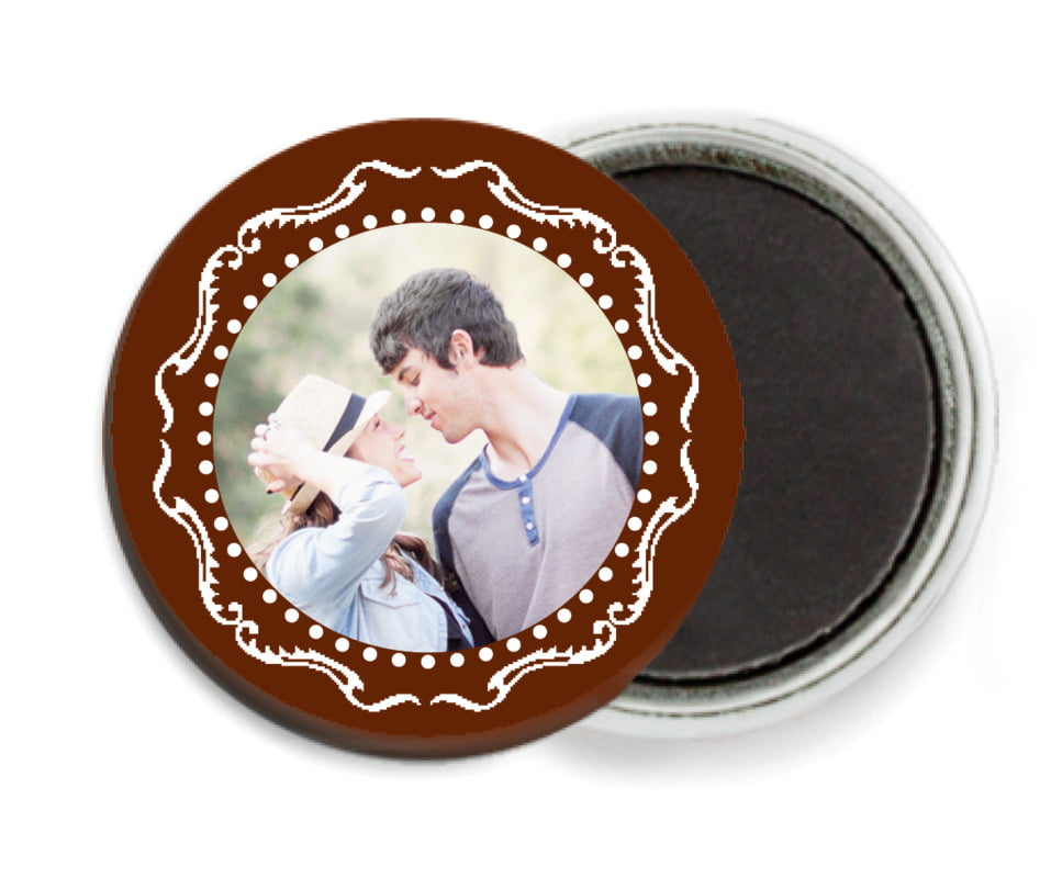 custom button magnets - chocolate - cara (set of 6)