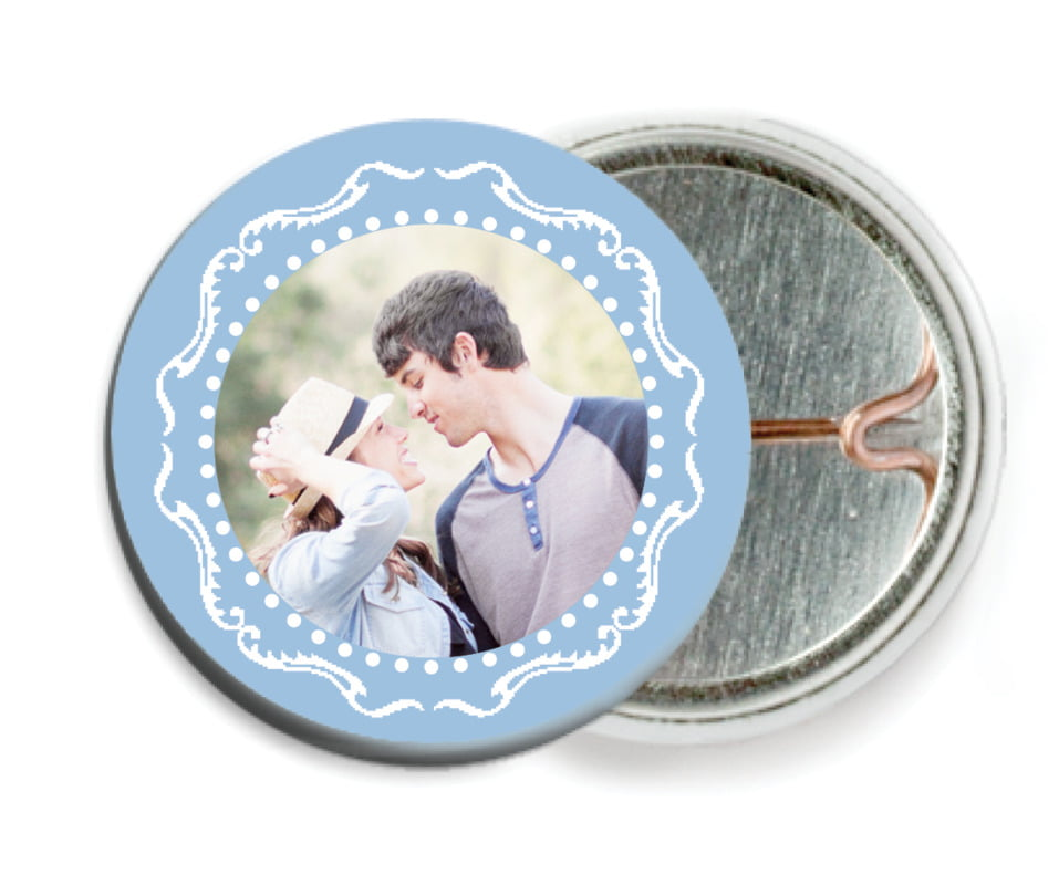 custom pin back buttons - blue - cara (set of 6)