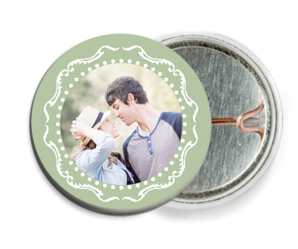 custom pin back buttons - sage - cara (set of 6)