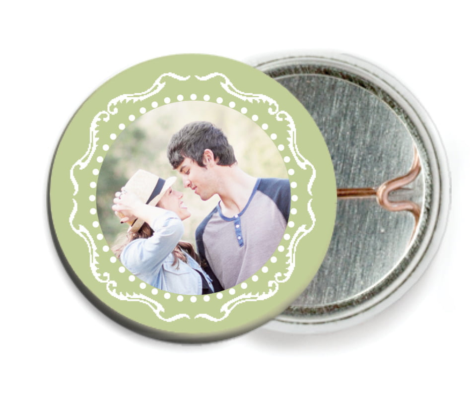 custom pin back buttons - green tea - cara (set of 6)