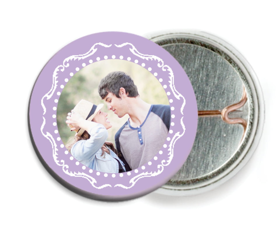 custom pin back buttons - lilac - cara (set of 6)
