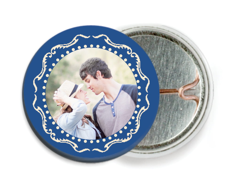 custom pin back buttons - deep blue - cara (set of 6)