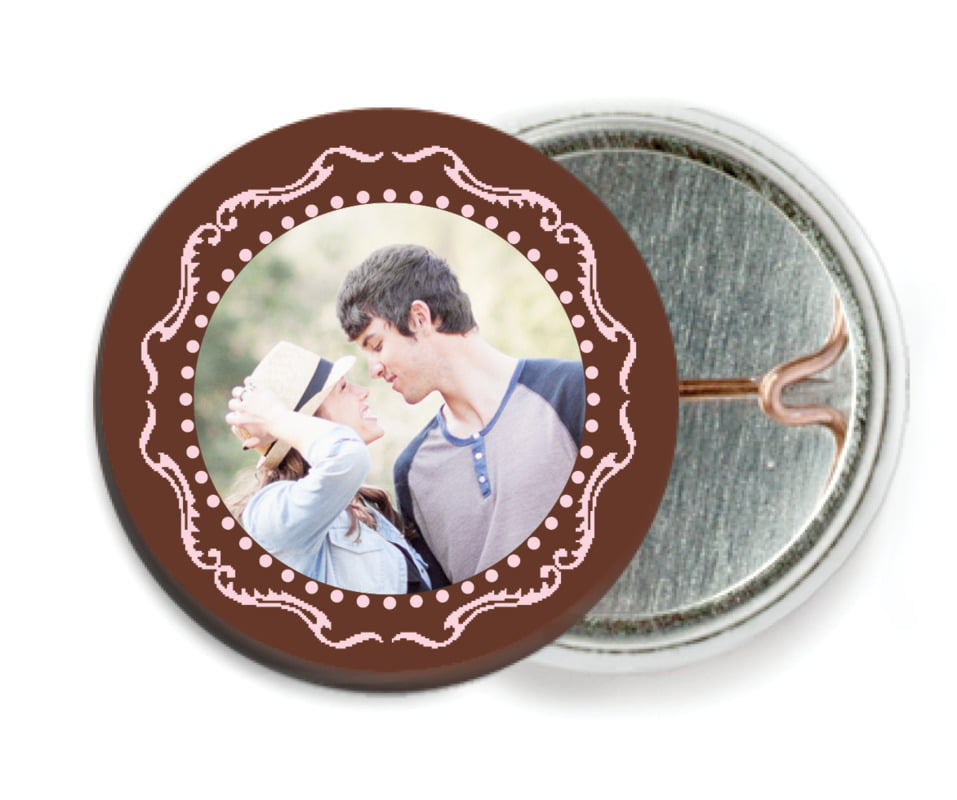 custom pin back buttons - cocoa & pink - cara (set of 6)