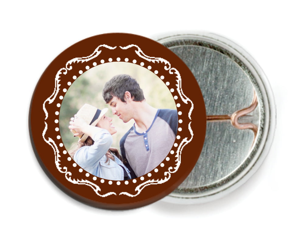 custom pin back buttons - chocolate - cara (set of 6)