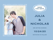 custom save-the-date cards - blue - cara (set of 10)