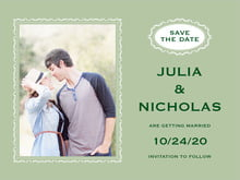 custom save-the-date cards - sage - cara (set of 10)