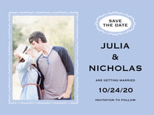 custom save-the-date cards - periwinkle - cara (set of 10)