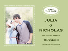 custom save-the-date cards - green tea - cara (set of 10)