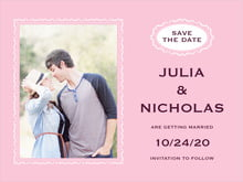 custom save-the-date cards - pale pink - cara (set of 10)