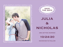 custom save-the-date cards - lilac - cara (set of 10)